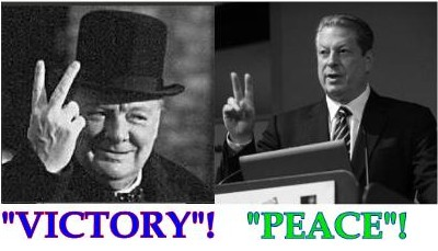 "CHURCHILL SIGNS ""VICTORY"" WHILE GORE SIGNS ""PEACE""  SEE THE HUGE DIFFERENCE IN THESE PEOPLE.  ONE IS STRONG AND A FIGHTER FOR HIS COUNTRY, THE OTHER, A HIPPY, A WEAK OPPORTUNIST"