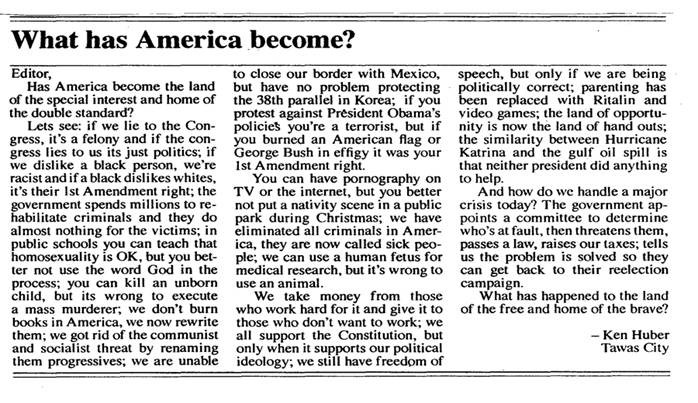 "A Small Michigan Newspaper Editorial - ""WHAT HAS AMERICA BECOME ..."